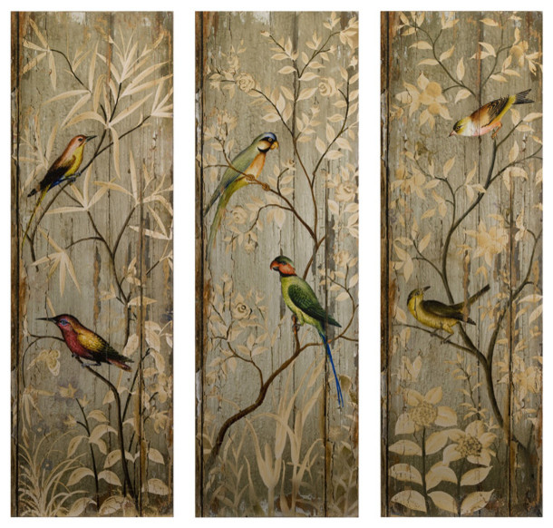 "Jakarta Bird Wall Decor, 3-Piece Set, 13.75""x42""."