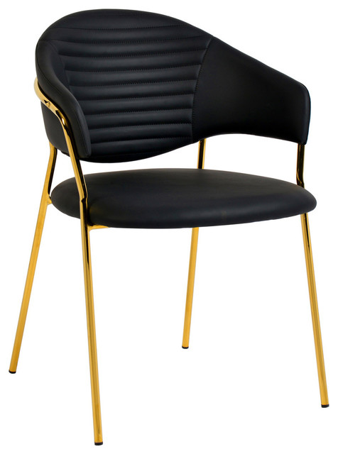Superb Faux Black Leather Dining Chair Contemporary Modern Gold Side Cay Chair Set Of Uwap Interior Chair Design Uwaporg
