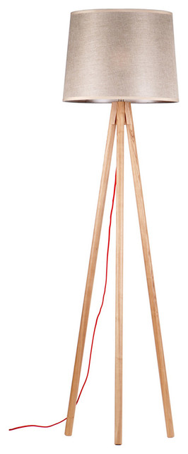 Tripod Wooden Floor Lamp With Brown Shade