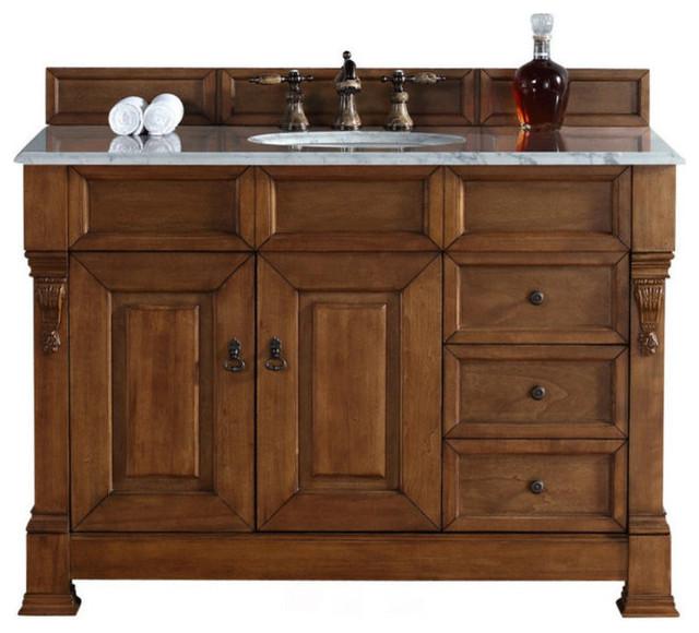 "48"" Vanity Cabinet, Drawers, Country Oak, Carrara White Stone Top"
