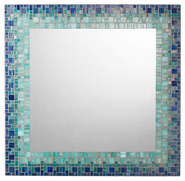 beach style bathroom mirrors coastal mosaic mirror blue sea green light teal 17273