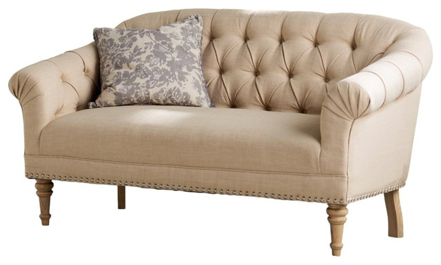 Cream Button Tufted Silver Nailhead Settee.