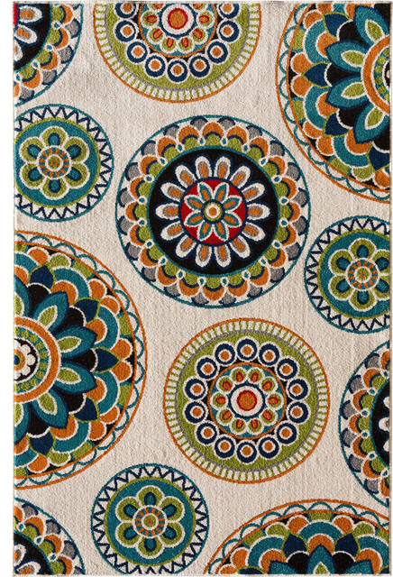 "Terrace Tropic Rug, Snow and Multi, 7'10"" X 9'10"""