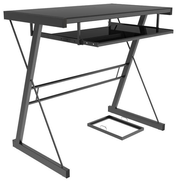 Ryan Rove Becker Metal And Glass Computer Desk Black