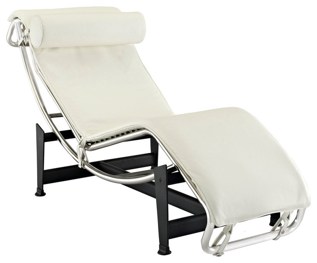Charles Leather Chaise, White.