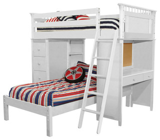 Bennington Loft Bed with Desk, Bookcase, Drawers and Lower Platform Bed, White
