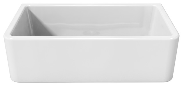 reversible fireclay farmhouse sink 33   traditional kitchen sinks latoscana reversible fireclay farmhouse white apron sink      rh   houzz com