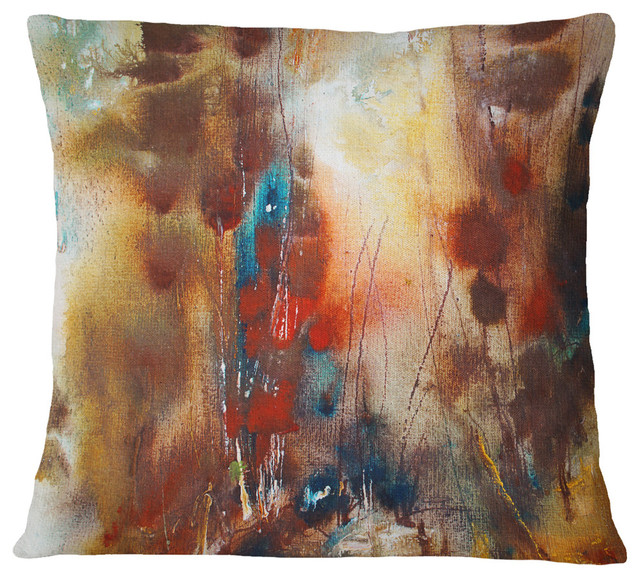 """Artistic Brown Abstract Throw Pillow, 16""""x16"""""""