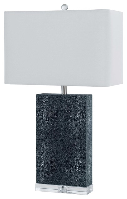 Sturgis Modern Faux Shagreen Charcoal Acrylic Table Lamp Contemporary Table  Lamps