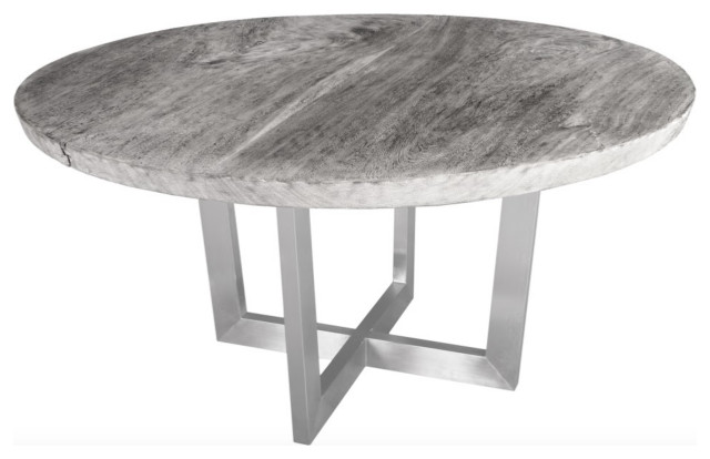 60 Round Dining Table Solid Slab Wood, Round Gray Dining Table