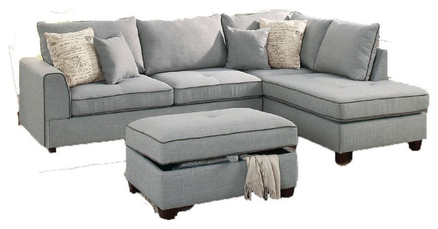 Fabulous Pancevo 3 Piece Sectional Sofa Set Gray Dorris Fabric With Storage Ottoman Gmtry Best Dining Table And Chair Ideas Images Gmtryco