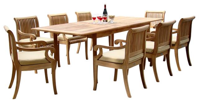 "9-Piece Teak Dining Set, 94"" Extension Rectangle Table, 8"