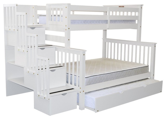 Bedz King Bunk Beds Twin over Full Stairway, 4 Step Drawers, Full Trundle, White