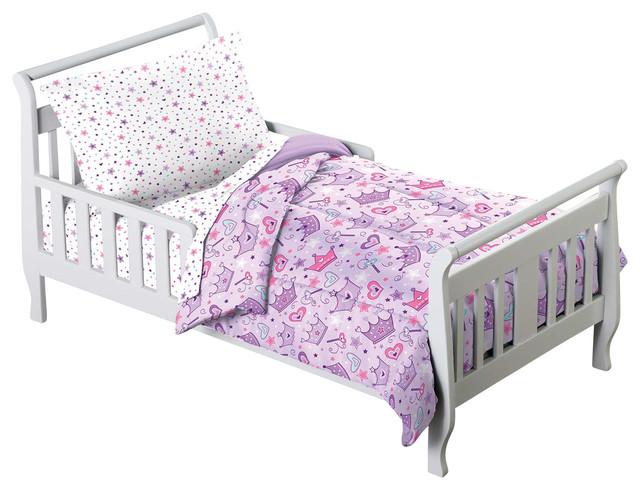 Princess Stars Crown Purple 4 Piece Toddler Bedding Set