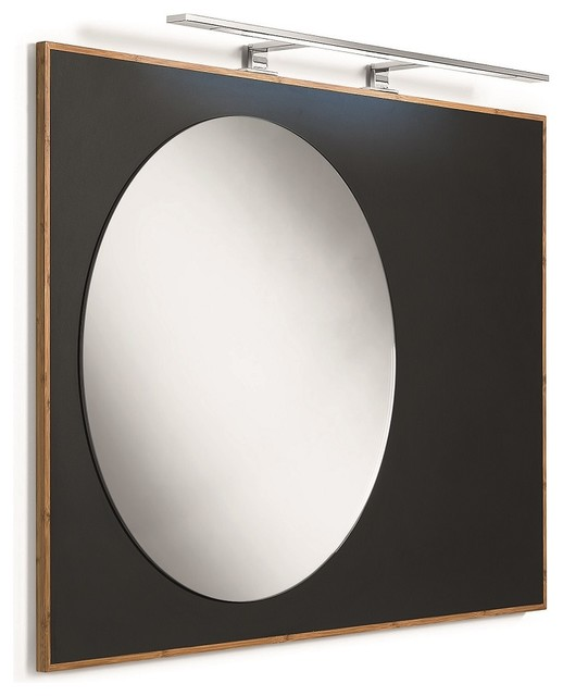 Luni 81143 Mirror with Bamboo Frame and Blackboard Magnetic Surface ...