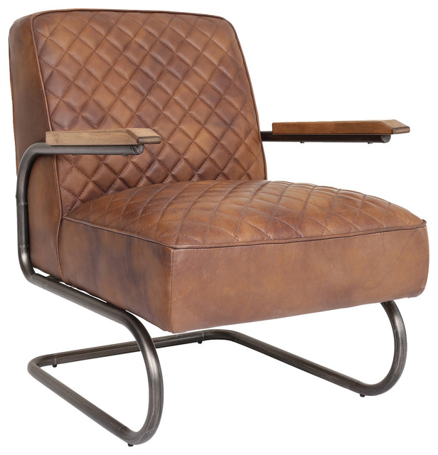 hudson industrial leather lounge chair - industrial - indoor