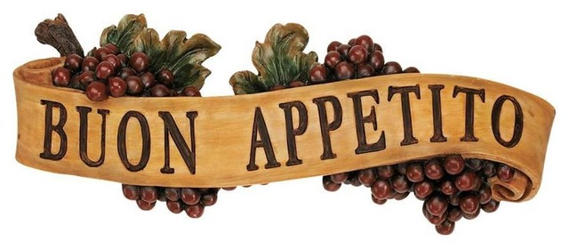 Italian Buon Appetito Kitchen Grapes Sculptural Wall Plaque Decor Traditional Wall Accents