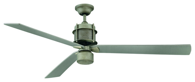 1-Light White Etched Glass Aged Steel Ceiling Fan.