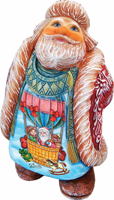 Artistic Wood Carved Santa Claus Balloon Ride Sculpture.