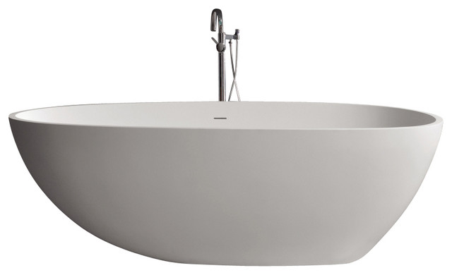 Adm matte white stand alone resin bathtub contemporary for Stand alone bathtubs modern