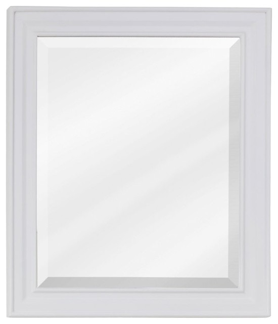 Jeffrey Alexander White Mirror With Beveled Glass Transitional Bathroom Mirrors