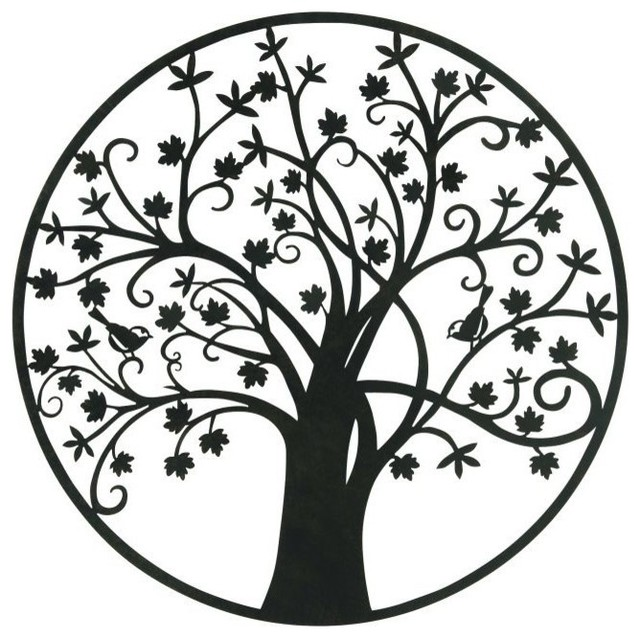 Charmant Botanical Tree Metal Outdoor Wall Plaque Contemporary Outdoor Wall Art