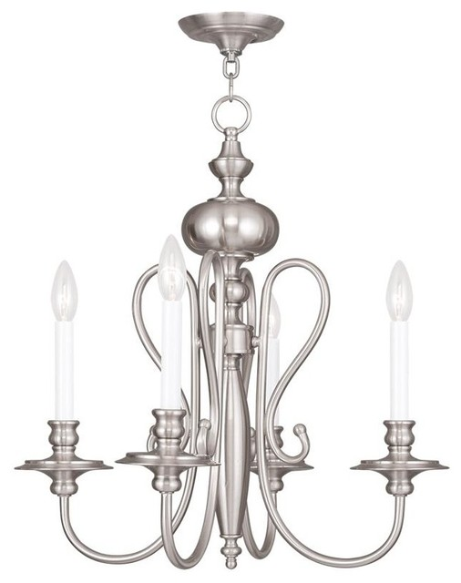 Four Light Brushed Nickel Up Chandelier