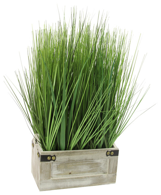 19 tall artificial desktop potted grass with wooden for Tall ornamental grasses for pots