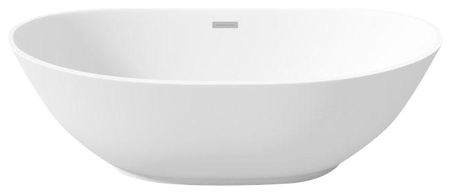 Oval Perlato Roma Freestanding Soaking Bathtub, White Gloss Acrylic.