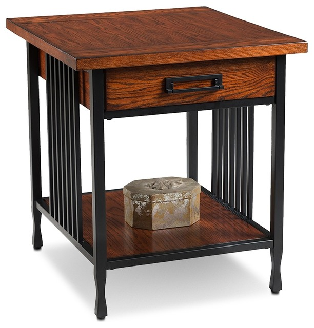 Leick Furniture Ironcraft Mission Oak Drawer End Table Transitional Side  Tables And