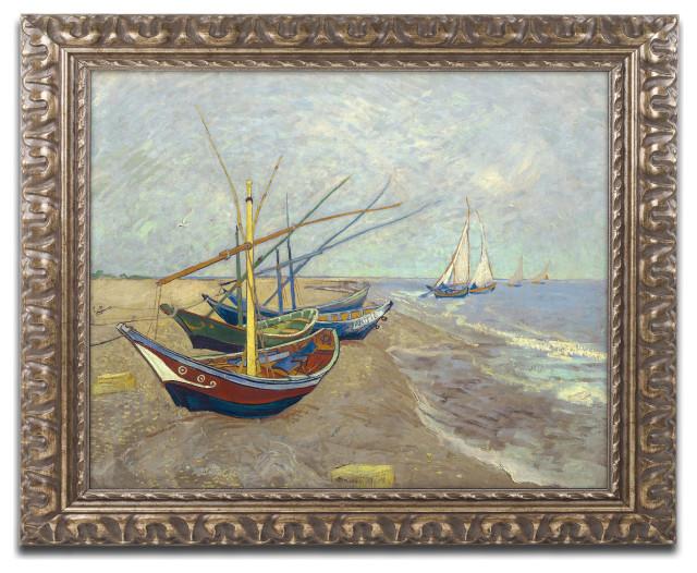 22x28 Vincent Van Gogh Fishing Boats on the Beach at Saintes-Maries Wall Decor