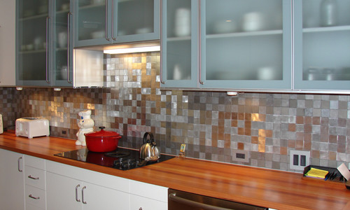 kitchen tile Eco Friendly Flooring - Metal Tile