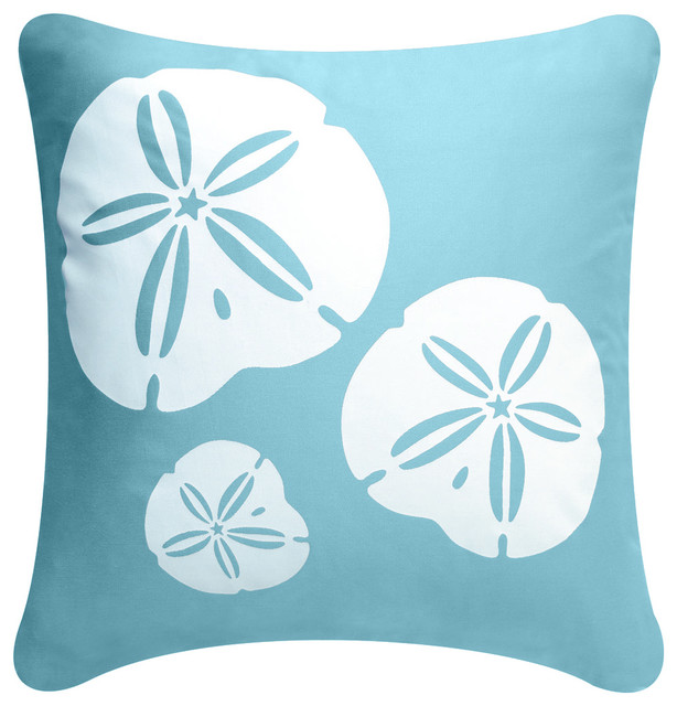 Beach Style Pillows : Sand Dollar Eco Coastal Throw Pillow - Beach Style - Decorative Pillows - by Wabisabi Green