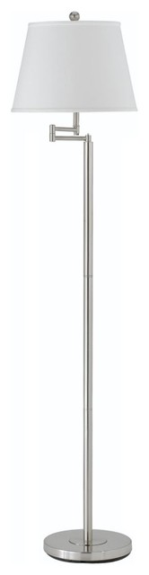 60 Brushed Steel Floor Lamp With Off White Shade.
