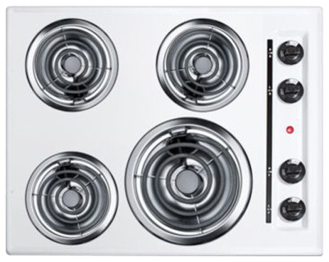 Summit 24 220v Electric Cooktop, White Porcelain.