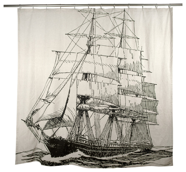 Ship Shower Curtain - Beach Style - Shower Curtains - by Step. & Lizzie