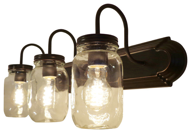Clear Quart Mason Jar Vanity - Farmhouse - Bathroom Vanity Lighting - by The Lamp Goods