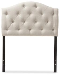 Myra Fabric Upholstered Button-Tufted Scalloped Twin Headboard, Light Beige