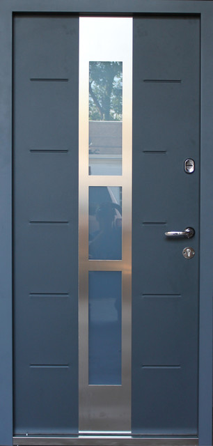 Metallux, Stainless Steel Armored Security Exterior Door, Gray, Left Hand.