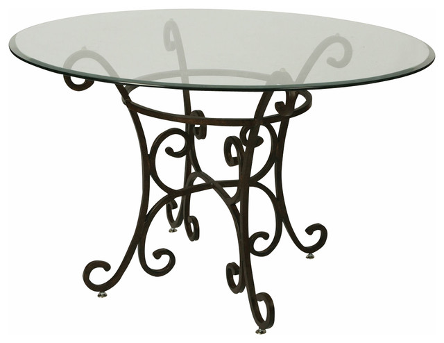 48 Inch Table Round Part - 42: Pastel Magnolia 48 Inch Round Bevel Glass Dining Table In Autumn Rust  Traditional-dining-
