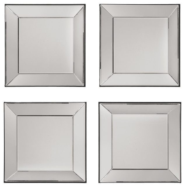 time square wall mirrors with wide mirrored frames set of 4 contemporary wall