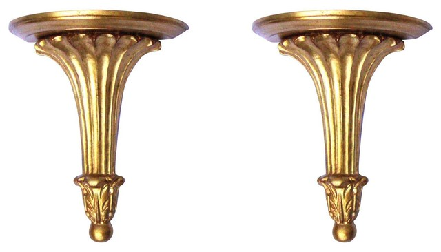 - Consigned Neoclassical Gilt Gold Sconce Shelves, Set Of