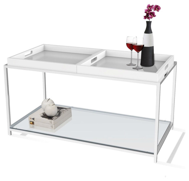 Modern Chrome Metal Coffee Table With 2 Removable Tray White Coffee Tables By Hearts Attic