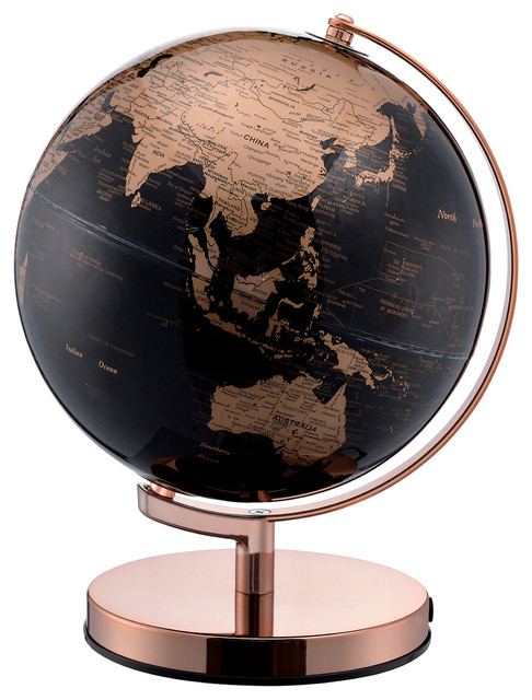12 5 Quot Tall Black And Gold Globe With Rose Gold Metal Frame