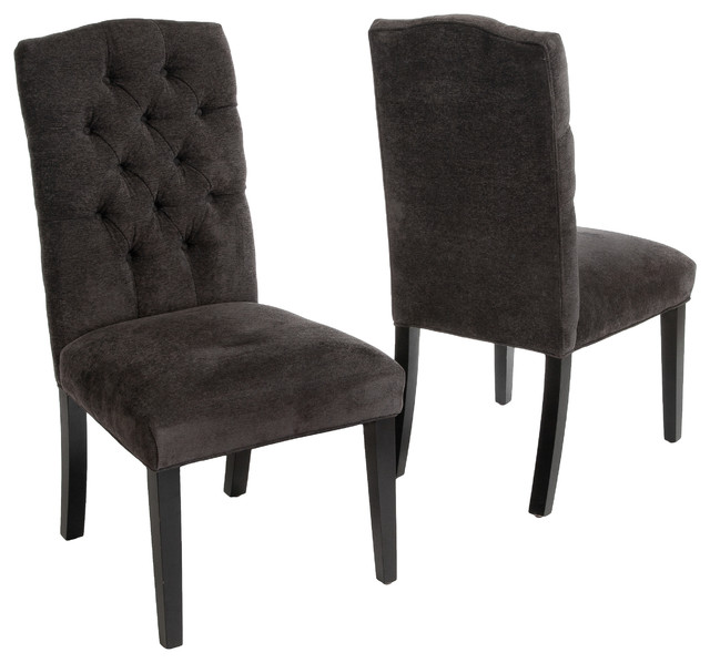 Delightful Clark Tufted Back Dark Gray Fabric Dining Chairs, Set Of 2 Transitional  Dining