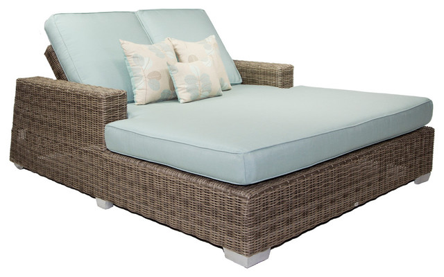 Palisades Outdoor Double Chaise With Cushions, Gray With Navy Blue