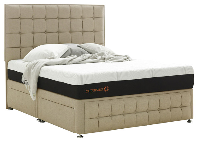 Venice double divan with 4 drawers and octaspring mattress for Double divan with drawers