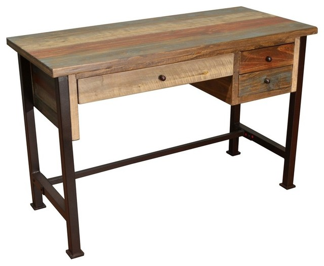 Bays Rustic Style 3 Drawer Writing Desk Library Table