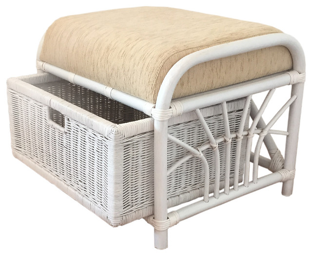 Rattan Ottoman Storage Jerry Tropical Footstools And