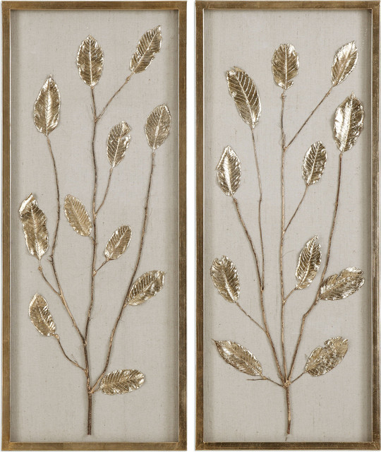 Branching Out Gold Leaf Panels, Set Of 2, Gold.